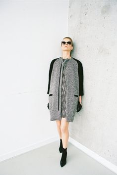 413.1 / twotone coat with unique waveform finish by Uplus on Etsy, $515.00
