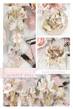 How to make my pretty shabby snippet roll - A tutorial by Shabby Art Boutique Fabric Decor, Fabric Art, Fabric Crafts, Sewing Crafts, Scrap Fabric, Paper Crafts, Shabby Look, Shabby Chic, Fabric Boxes
