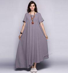 Anysize linen & cotton irregular hem maxi dress plus size dress plus size…
