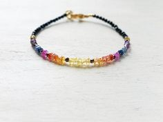 Yellow Orange Pink Blue Grey Sapphire Black Spinel Bracelet Natural Gemstone Beaded Bar Stacking Bangle Sapphire Jewelry Gift For Women
