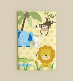 Light Switch Cover Plate  Safari Jungle Zoo Animals by potatopatch, $7.95