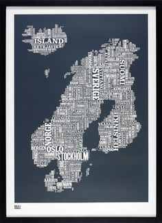 Scandinavian Typography map from Bold & Noble - Loved by @denmarkhouse