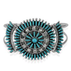 Liquidation Channel   Santa Fe Style Turquoise Cuff in Sterling Silver (Nickel Free)