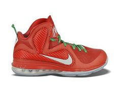 Nike LeBron 9 Christmas Edition   Style Code:469764-301  The Nike Lebron 9 Christmas features the colorway similar to christmas trees and gifts. On the red flywire and fabric upper there is also matching to green shoelaces and heel tab. The silver Nike swoosh is placed at side panel echo to a translucent 180 max air unit and outsole.
