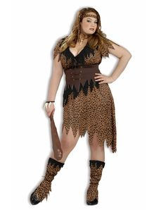 Cave Beauty Adult Womens Plus Size Costume – Spirit Halloween-add some skull & bone  jewelry to make it cannibal woman?