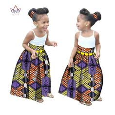 Summer Children African Clothes Customized Girl Fashion Long Skirt African Dashiki Print Clothing with a Free Headband BRW Ankara Styles For Kids, African Dresses For Kids, African Children, African Wear, African Attire, African Fashion Dresses, African Dashiki, African Clothes, African Style