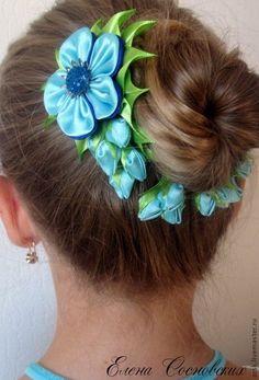 """Купить комплект """"Первые бутоны"""" - голубой, канзаши, шпильки для волос, шпильки с…"""