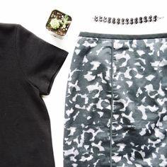 Patterned high waist skirt High waisted pencil skirt. Exposed zipper on the back. LOFT Skirts
