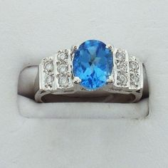 Sterling silver blue topaz ring - Silver jewelry - Jewel of the Lotus $210