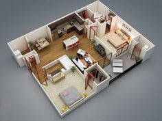 3D Small Home Plans with Open Layout 2 Bedroom #smallhome #homeplans