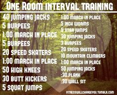 """One room interval training. Would do """"jog in place"""" instead of """"march"""""""