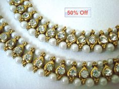 pearl anklets INDIAN ANKLETS crystal payal by myglitteringworld, $37.99, 90% off