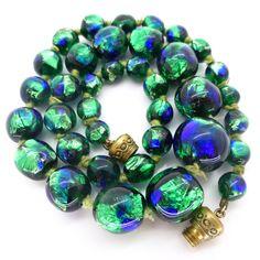 Vintage Art Deco Bohemian Peacock Foil Glass Bead Necklace | Clarice Jewellery | Vintage Costume Jewellery