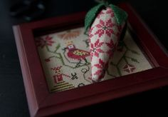 A Miniature Sewing Tray and A Berry for your Scissors - accessories to Crowned Bird Sampler by Plum Street Samplers to be released summer or fall of 2014 Small Cross Stitch, Cross Stitch Bird, Cross Stitch Charts, Cross Stitching, Needle Book, Needle And Thread, Rear View Mirror Accessories, Strawberry Summer, Little Stitch
