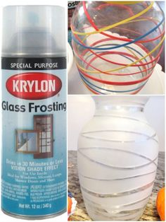 Use Glass Frosting by Krylon to give any glass vase or mirror a nice frosted look!!