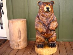 Caramel Bear, chainsaw wood sculpture | Sleepy Hollow Art