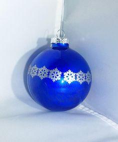 Blue Snowflakes Glass Ornament