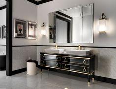 Lutetia L1 Luxury Italian Bathroom Vanity in Black Lacquer & Gold Wood