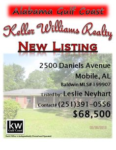 2500 Daniels Avenue, Mobile, AL...MLS# 199907...$68,500...MAY BE SUBJECT TO ALABAMA RIGHT OF REDEMPTION LAW.BRICK 3/2 WITH ONE CAR ATTACHED CARPORT. TILE FLOORING. POOL IS NOT WARRANTED. 1/2 ACRE LOT. Please contact Leslie Anderson Neyhart at 251-391-0556.