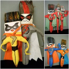 rainbowsandunicornscrafts:    DIY Inspiration: Paintbrush Super Heroes Created by Children. FromMini Taller d'Arton Facebook here.    Truebluemeandyou: I actually follow Mini Taller d'Art on Facebook because they come up with the best kids' projects that I can actually see some artist making and putting in a gallery. Truly.
