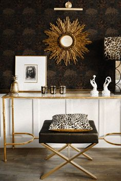 Copacabana by Laurence Llewelyn-Bowen - Black Copper - Wallpaper : Wallpaper Direct Black And Gold Living Room, Copper Living Room, Copper Bedroom, Gold Bedroom, Pattern Wallpaper, Wallpaper Designs, Powder Room Design, Classic Living Room, Gold Interior
