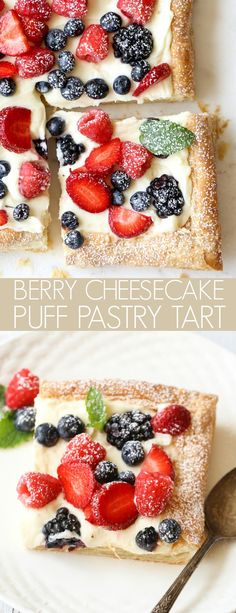Berry Cheesecake Puff Pastry Tart (VIDEO) - Valentina's Corner Pastry sheets with a mascarpone cheesecake filling and topped with your favorite berries. The perfect combination of flavors. Puff Pastry Desserts, Köstliche Desserts, Dessert Recipes, Puff Pastries, Puff Pastry Tarts, Sweet Puff Pastry Recipes, Puffed Pastry Appetizers, Fruit Pastry Recipes, Breakfast Puff Pastry