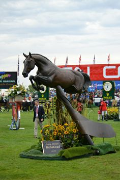 Sept 2012 - A life size bronze statue (sculpted by Mary Sandi) of the legendary Hickstead 1996 - 2011, was unveiled at it's permanent home at Spruce Meadows, where he was also inducted into the Spruce Meadows Hall of Fame.Google Search