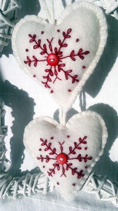 Set of Three White and Red Christmas Heart Felt by AgnesFeltCraft