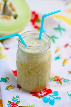 Green Tea Smoothies--  1 frozen banana     1/2 large honeydew melon, cut into chunks     3/4 cup strong brewed green tea (use two tea bags and seep for ten minutes)     1 tsp honey     1/4 cup almond milk