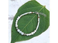 NÁRAMEK S PERLAMI, Labradoritem & měsíčním kámenem Summer Bracelets, Linux, Beaded Necklace, Green, Jewelry, Beaded Collar, Jewlery, Pearl Necklace, Jewerly