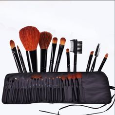 FASH Professional goat hair and nylon makeup Brush Set with Faux Leather Pouch, 21-Piece,For Eye Shadow, Blush, Eyeliner,... ♥