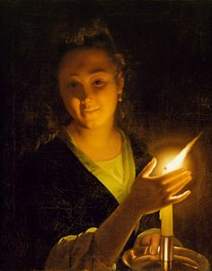 §§§ : Young Lady with a Candle : Godfried Schalcken : 1643-1706