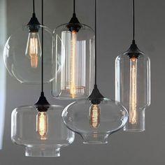 NEW Modern Retro Glass Pendant Lamps Kitchen Bar Cafe Hanging Ceiling Lights Blown Glass Pendant Light, Glass Pendants, Chandelier Design, Deco Luminaire, Kitchen Pendant Lighting, Pendant Lights, Pendant Lamps, Industrial Lighting, Hanging Ceiling Lights