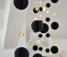 Image of Guirnalda de esferas Negro y dorado