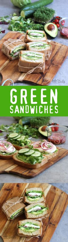 Green sandwiches Bake to the rootsYou can find Sandwiches and more on our website.Green sandwiches Bake to the roots Grilling Recipes, Lunch Recipes, Breakfast Recipes, Cooking Recipes, Sandwich Recipes, Summer Recipes, Food To Go, Love Food, Food And Drink