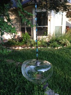 Glass Mushroom Shaped Bird Feeder Planter by HappyChickCreations, $18.00