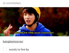Safety first, safety second, coolness third XD JungKook BTS