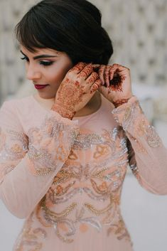 The Beautiful Indian Bride getting ready for her Nikkah. Beautiful Indian Brides, Bride Getting Ready, Beautiful Moments, Hair Designs, Muslim, Henna, Wedding Venues, Vogue, Glamour