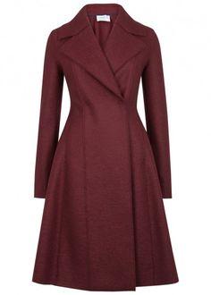 Burgundy flared wool coat