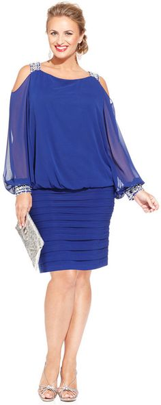 Betsy & Adam Plus Size Cold-Shoulder Embellished Blouson Dress - Dresses - Women - Macy's Vestidos Plus Size, Plus Size Dresses, Plus Size Outfits, Chiffon Evening Dresses, Evening Gowns, Evening Party, Chiffon Saree, Chiffon Skirt, Curvy Fashion