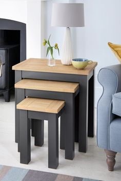 Oak Effect Malvern Nest Of 3 Tables Contemporary Leather Sofa, Grey Room, Light Oak, Nesting Tables, Round Corner, Small Living Rooms, Bedding Collections, Furniture Collection, Shelves