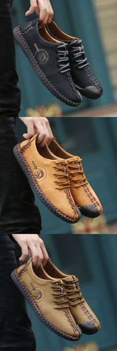 Men British Style Retro Stitching Soft Sole Lace Up Flat Cap-toe Casual Shoes