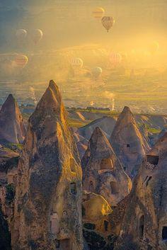 Hot air balloons above Cappadocia, Turkey