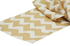Burlap and White Chevron Table Wedding Runners by BatesonsBoutique
