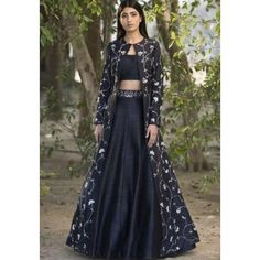 Jacket lehenga - Wellcart black designer lehnga choli with full sakkoti Etsy Lehenga Choli Designs, Designer Lehnga Choli, Designer Gowns, Ghagra Choli, Indian Lehenga, Silk Lehenga, Anarkali, Lehenga Blouse, Indian Wedding Outfits