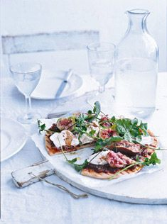 char-grilled pizza with fig, mozzarella and caramelized onion on WHITE SET via donna hay