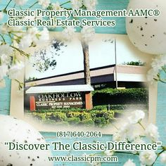 Classic Property Management AAMC®  Classic Real Estate Services 2415 Avenue J Suite 100 Arlington, Texas 76006 Office Line•(817)640-2064 Fax Line•(817)640-2068 Email•info@classicpm.com   •Community Association     Management (HOA) •Property Management  •Home Sales •Rental Properties  •Residential Brokerage For Real Estate Investors  •MLS Broker •Real Estate Investment Advisors •Dallas/Fort Worth Real Estate Market  Serving  Dallas/Fort Worth Since 1987