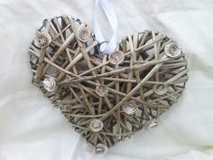 Book rose wicker heart