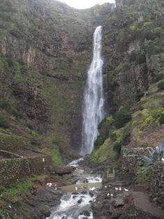 Cascata do Aveiro - Azores, wtih picnic table at the base