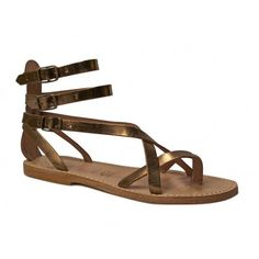 54b6e06a084e Handmade bronze leather flat gladiator thong sandals - Italian Boutique  Leather Gladiator Sandals